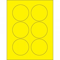 Fluorescent Yellow Circle Laser Labels, 3""