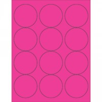 Fluorescent Pink Circle Laser Labels, 2 1/2""