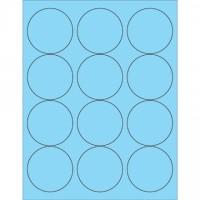 """Fluorescent Pastel Blue Circle Laser Labels, 2 1/2"""""""