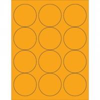 "Fluorescent Orange Circle Laser Labels, 2 1/2"""