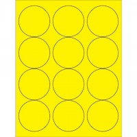 Fluorescent Yellow Circle Laser Labels, 2 1/2""