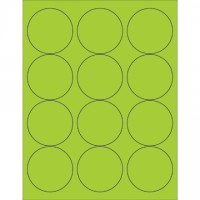 Fluorescent Green Circle Laser Labels, 2 1/2""