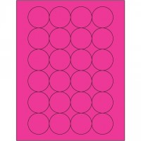 Fluorescent Pink Circle Laser Labels, 1 2/3""