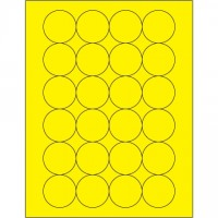 Fluorescent Yellow Circle Laser Labels, 1 2/3""