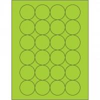 "Fluorescent Green Circle Laser Labels, 1 2/3"""