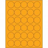 "Fluorescent Orange Circle Laser Labels, 1 1/2"""