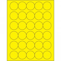 Fluorescent Yellow Circle Laser Labels, 1 1/2""