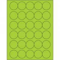 Fluorescent Green Circle Laser Labels, 1 1/2""