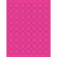 Fluorescent Pink Circle Laser Labels, 1""
