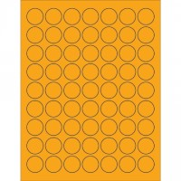 "Fluorescent Orange Circle Laser Labels, 1"""