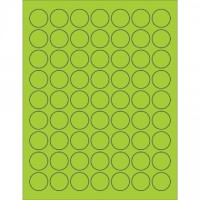 Fluorescent Green Circle Laser Labels, 1""