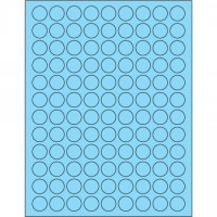 Fluorescent Pastel Blue Circle Laser Labels, 3/4""