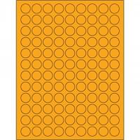 "Fluorescent Orange Circle Laser Labels, 3/4"""