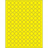 """Fluorescent Yellow Circle Laser Labels, 3/4"""""""