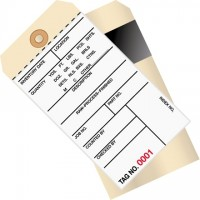 """Inventory Tags - 2-Part Carbon Style with Adhesive Strip (3500-3999), 6 1/4 x 3 1/8"""""""