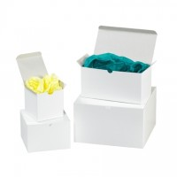 """Chipboard Boxes, Gift, White, 4 x 4 x 2"""""""