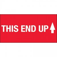 """"""" This End Up"""" High Gloss Fluorescent Red Labels, 2 x 4"""""""