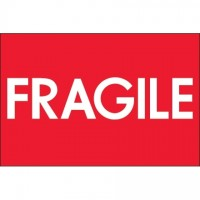 """"""" Fragile"""" High Gloss Fluorescent Red Labels, 2 x 3"""""""
