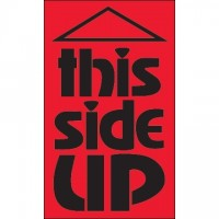 """"""" This Side Up"""" Fluorescent Red Labels, 3 x 5"""""""
