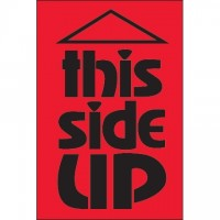 """"""" This Side Up"""" Fluorescent Red Labels, 2 x 3"""""""