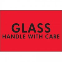 """ Glass - Handle With Care"" Fluorescent Red Labels, 2 x 3"""