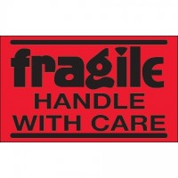 """"""" Fragile - Handle With Care"""" Fluorescent Red Labels, 3 x 5"""""""