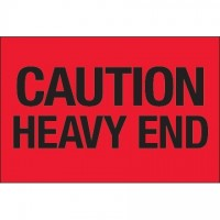 """ Caution - Heavy End"" Fluorescent Red Labels, 2 x 3"""