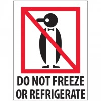 "International Safe Handling Labels -"" Do Not Freeze Or Refrigerate"", 3 x 4"""
