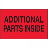 """ Additional Parts Inside"" Fluorescent Red Labels, 3 x 5"""