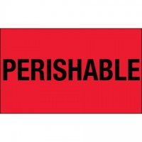 """ Perishable"" Fluorescent Red Climate Labels, 3 x 5"""