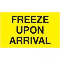 """ Freeze Upon Arrival"" Fluorescent Yellow Climate Labels, 3 x 5"""
