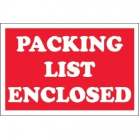 """ Packing List Enclosed"" Labels, 2 x 3"""