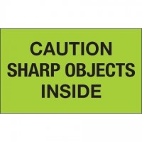 """ Caution Sharp Objects Inside"" Green Labels, 3 x 5"""