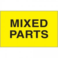 """ Mixed Parts"" Fluorescent Yellow Labels, 3 x 5"""