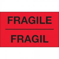 """ Fragil"" Fluorescent Red Bilingual Labels, 3 x 5"""