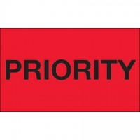 """ Priority"" Fluorescent Red Labels, 3 x 5"""
