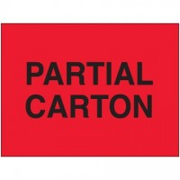""" Partial Carton"" Fluorescent Red Labels, 3 x 5"""