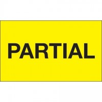 """ Partial"" Fluorescent Yellow Labels, 3 x 5"""