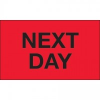 """ Next Day"" Fluorescent Red Labels, 3 x 5"""