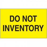 """"""" Do Not Inventory"""" Fluorescent Yellow Labels, 3 x 5"""""""