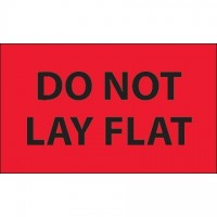 """"""" Do Not Lay Flat"""" Fluorescent Red Labels, 3 x 5"""""""