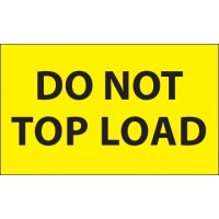 """ Do Not Top Load"" Fluorescent Yellow Labels, 3 x 5"""