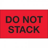 """ Do Not Stack"" Fluorescent Red Labels, 3 x 5"""