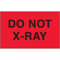 """ Do Not X-Ray"" Fluorescent Red Labels, 3 x 5"""