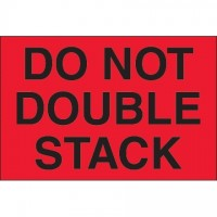 """ Do Not Double Stack"" Fluorescent Red Labels, 2 x 3"""