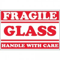 """ Fragile - Glass - Handle With Care"" Labels, 2 x 3"""