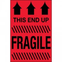 """ This End Up - Fragile"" Fluorescent Red Labels, 2 x 3"""