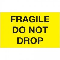 """ Fragile - Do Not Drop"" Fluorescent Yellow Labels, 3 x 5"""