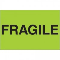 """ Fragile"" Green Labels, 2 x 3"""