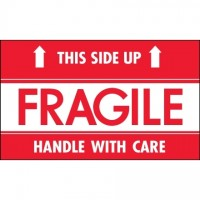 """ Fragile - This Side Up - Hwc"" Labels, 3 x 5"""